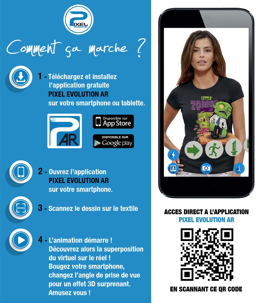 shirt 3D shirt 3D LITTLE ZOMBIE réalité augmentée réalité augmentée