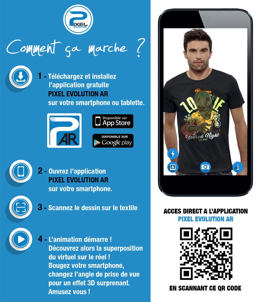 shirt 3D shirt 3D BECOME ZOMBIE réalité augmentée réalité augmentée
