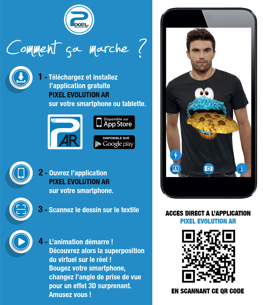 shirt 3D cookie monster réalité augmentée
