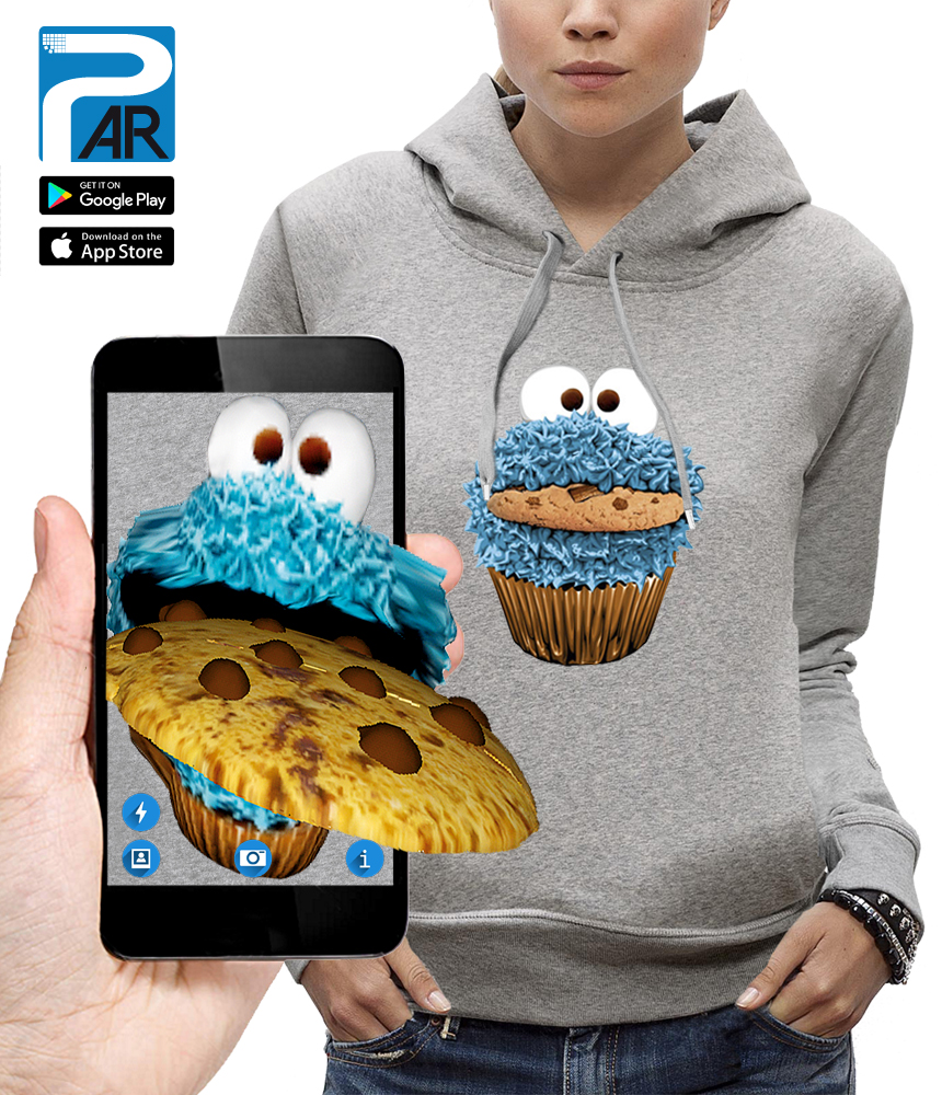 sweat 3D cookie monster réalité augmentée