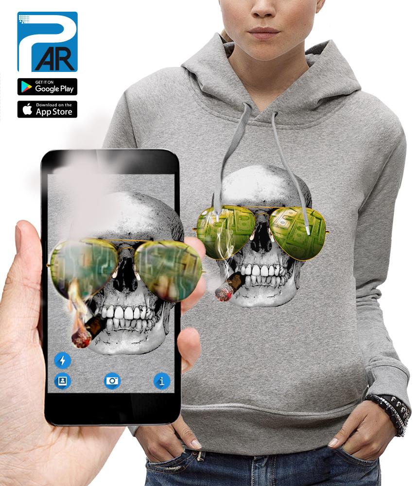 sweat 3D crâne cigare las vegas réalité augmentée