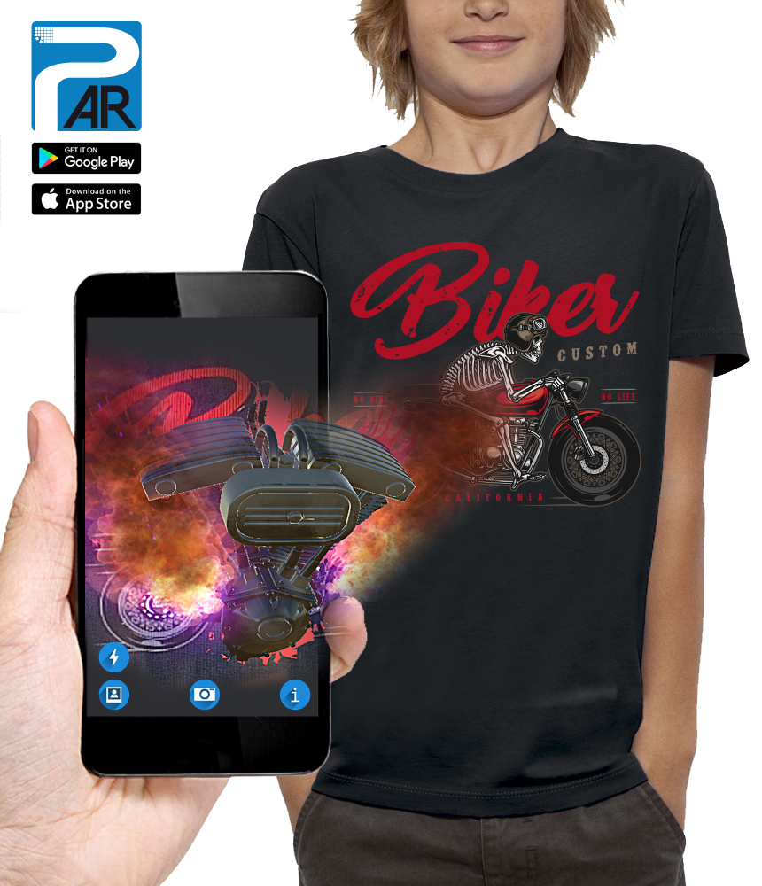 shirt 3D BIKERS CUSTOM réalité augmentée
