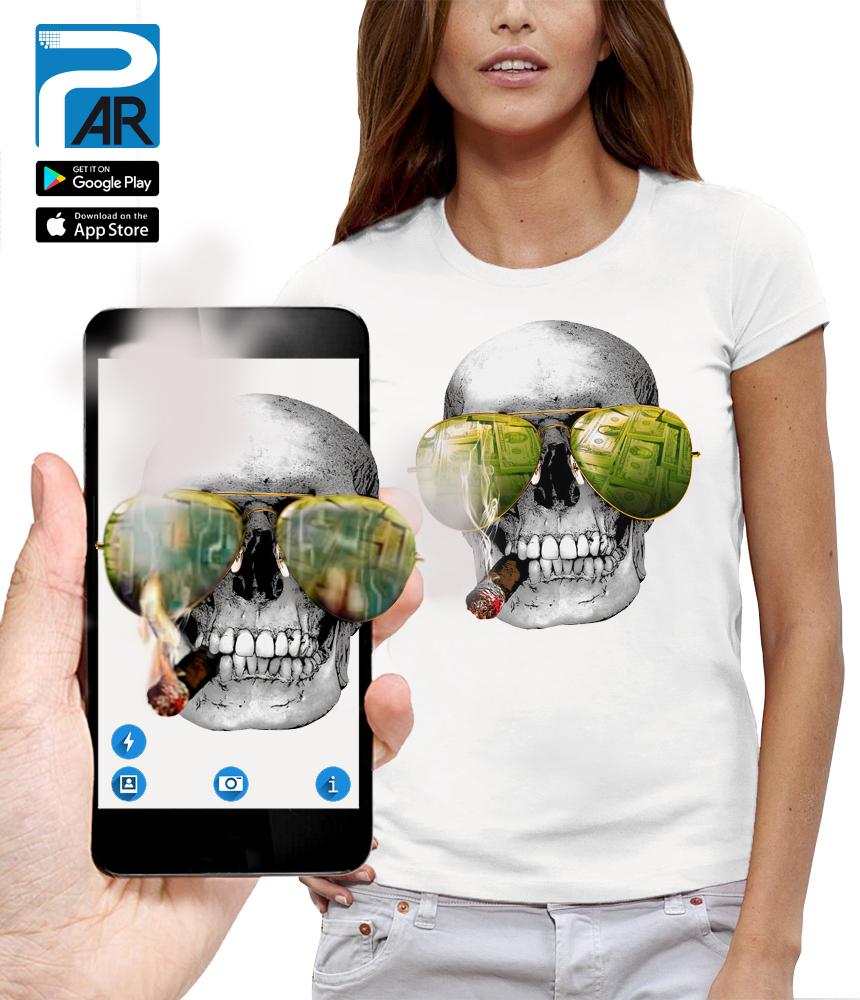 shirt 3D tete de mort casino réalité augmentée