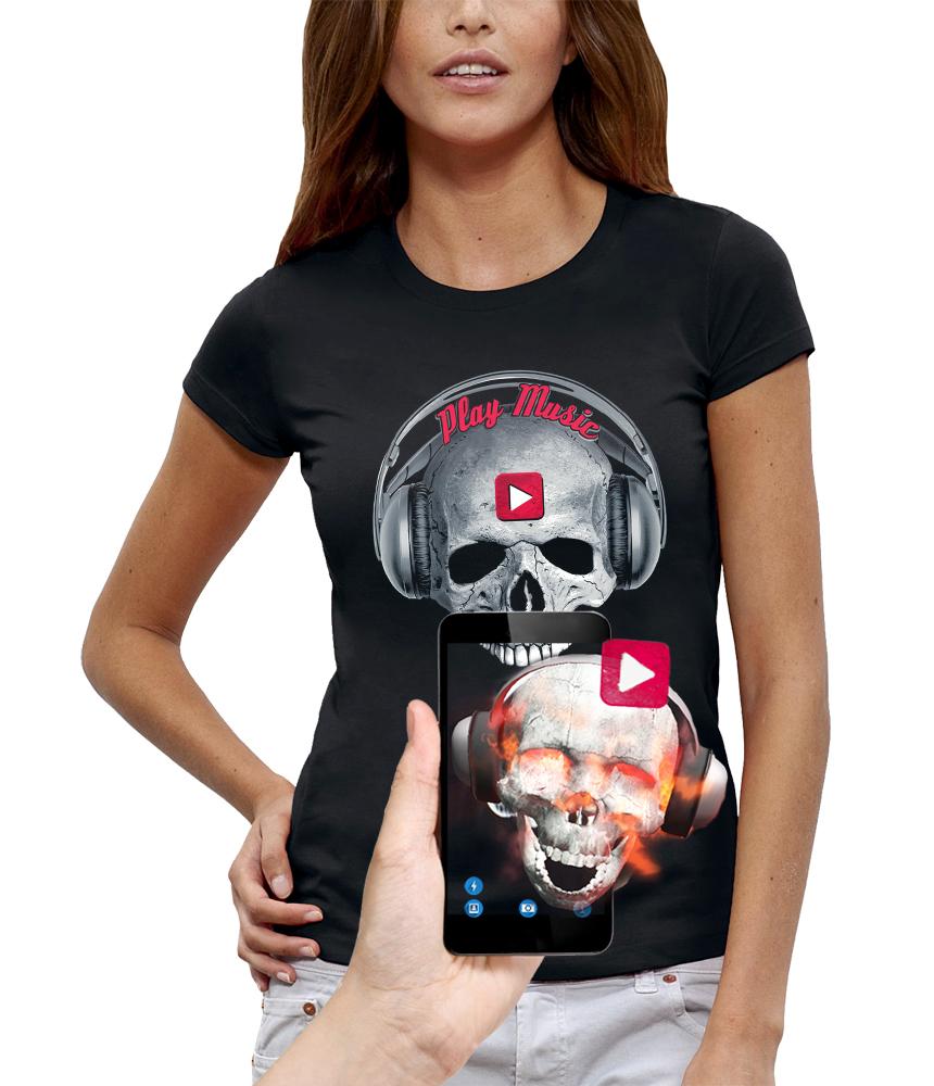 shirt 3D tete de mort casque dj play music réalité augmentée