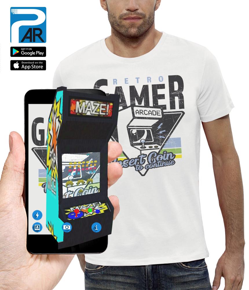 shirt 3D RETRO GAMER réalité augmentée