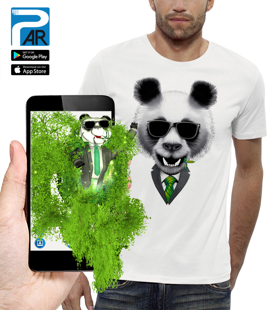 shirt 3D panda réalité augmentée