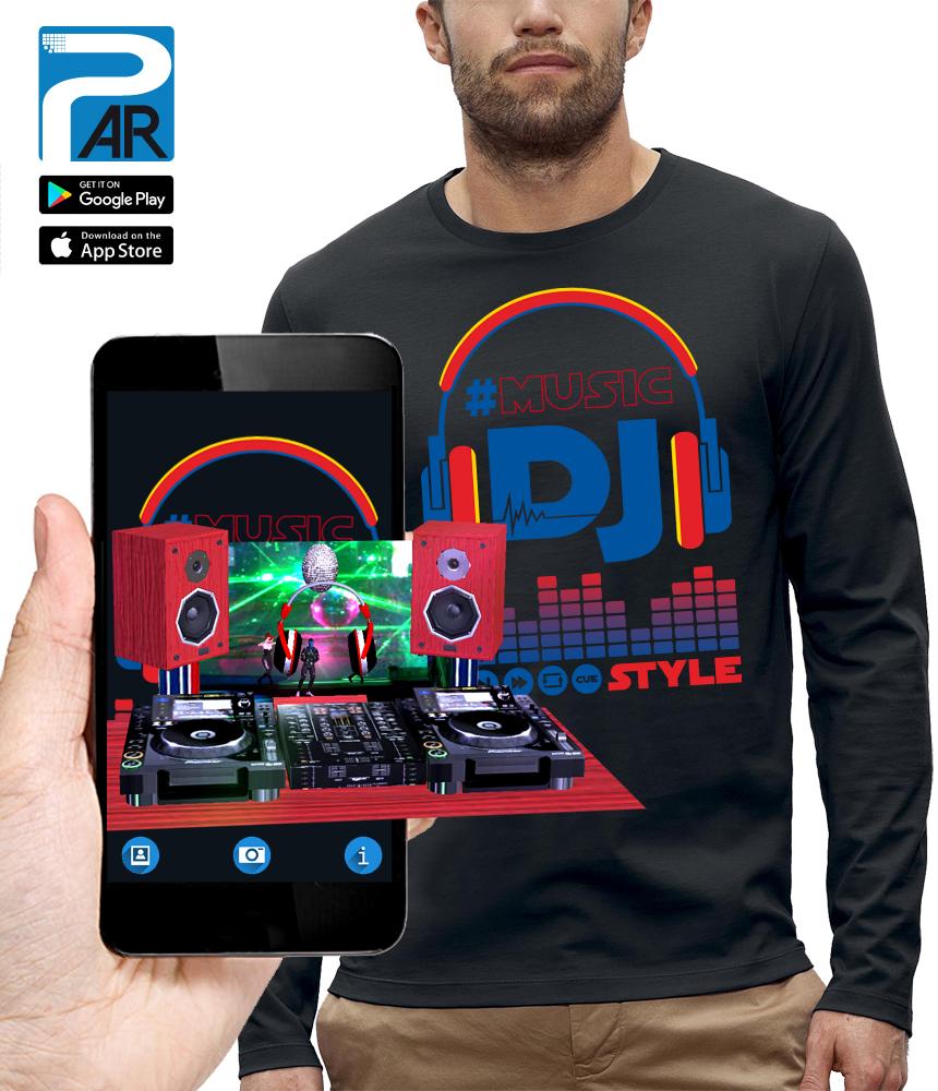 shirt 3D CASQUE DJ STYLE réalité augmentée
