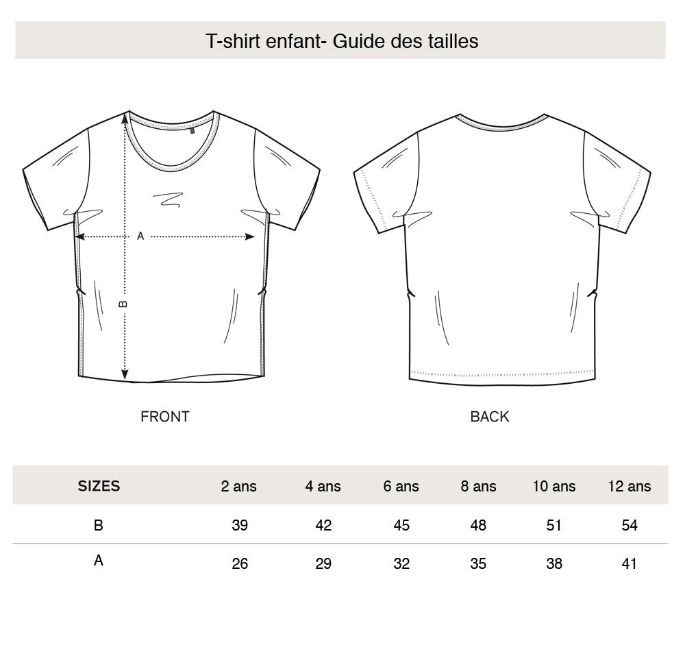 t-shirt enfant guide des tailles