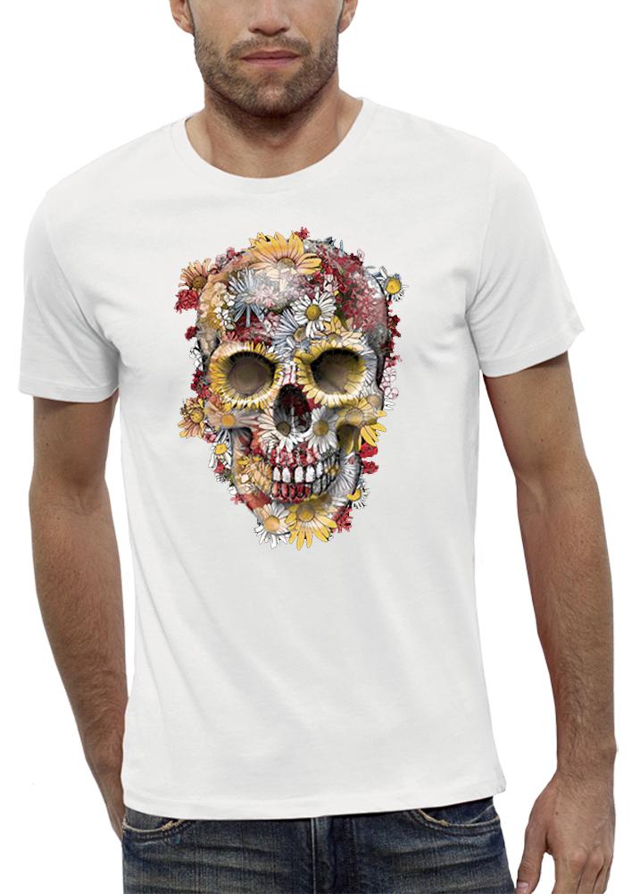shirt 3D animé crâne-fleurs réalité augmentée