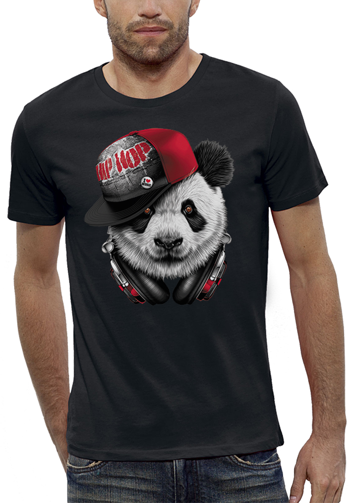 shirt 3D animé panda-hip-hop réalité augmentée